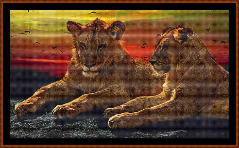 Sunset Lions Cross Stitch